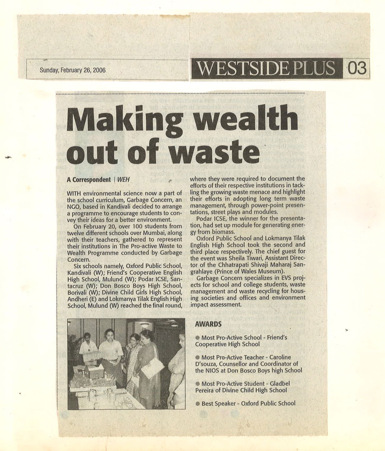 Garbage concern welfare society for Wealth out of waste project